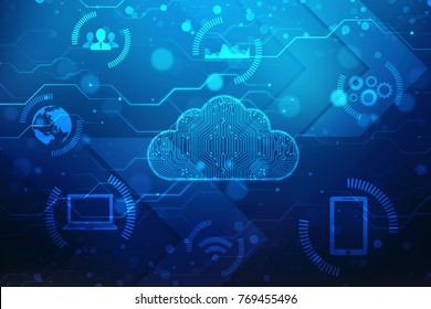 Digital Abstract technology background, cyber space background, cloud computing Concept background