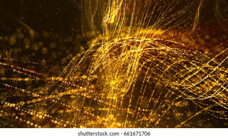 Digital abstract wave particles form abstract cyber technology de-focus background