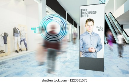 Digital advertisiment in shopping mall mockup 3d rendering