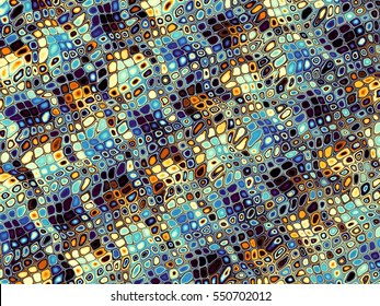 Digital art abstract pattern. Horizontal geometrical image in Art Nouveau style