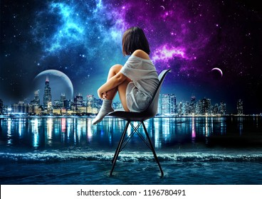 digital art of alone girl sitting on sea looking at galaxy, manipulation art. digital painting, alone girl in the city, illustration, galaxy, alone girl, sea, city, wallpaper, night