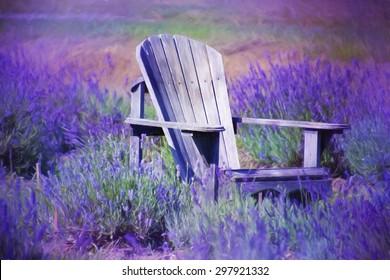 Digital art, artistic paint effect, adirondack old purple chair, on lavender flowers field, Quebec, canada