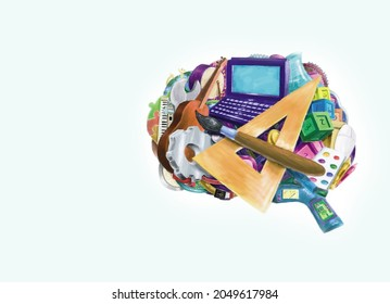 Digital art of brain with education and talent symbols. Arabic alphabets in the boxes shown are the letters Nun (N), Sheen (sh), T, Waw (W), Fa, Gh, and Th if translated in English.