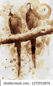 Digital Art Coffee stain panting.