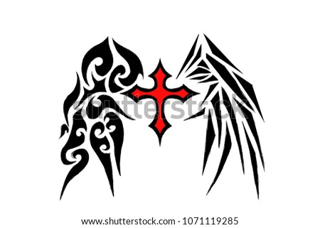 Digital Art Design Red Black Cross Stock Illustration Royalty Free