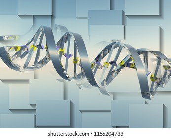 Digital art. DNA chain. Square overlapping layers. 3D rendering