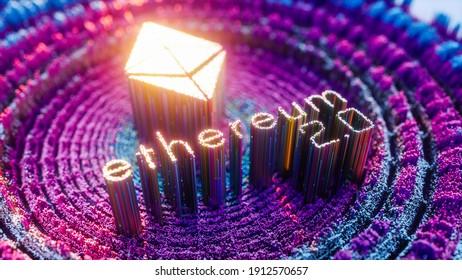 Digital Art Ethereum 2.0 Logo Symbol. Cryptocurrency Futuristic 3D Illustration. Proof-of-Stake PoS consensus, sharding, staking