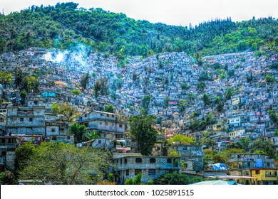 Digital art, Housing stacked up a hillside in Port-Au-Prince, Haiti