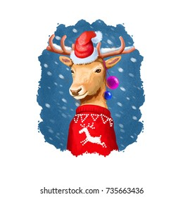 Digital art illustration of christmas deer in Santa's hat and red winter sweater. Rudolph reineer. Merry Christmas and Happy New Year greeting card design. Graphic clip art design for web, print
