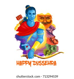 Digital art illustration for indian holiday Vijayadashami. Happy Dussehra writing. God Rama with bow, arrows. Evil demon Ravana with his multiple heads. Dasara hindu festival graphic clip art design