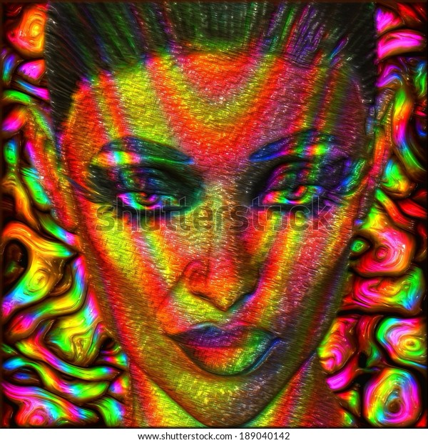 Digital Art Image Womans Face Abstract Stock Illustration