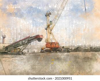 Digital Art. Industry. Mobile harbor crane and self-propelled belt loader in coal warehouse. Wheeled boom tower crane. Modern material handling equipment. Digital watercolor painting. Contemporary art