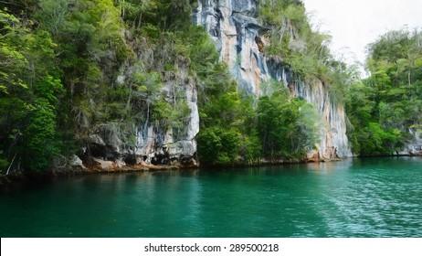 Digital art, paint effect, Los Haitises National Park, Bird Island, Dominican Republic
