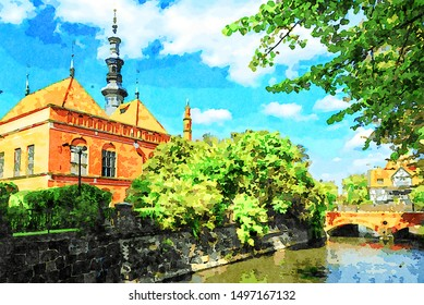 Digital art painting canvas or The Raduni Canal in The Old Town in Gdansk with famous medieval landmarks (watercolor effect)