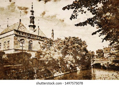 Digital art painting canvas  - sepia toned image of The Raduni Canal in The Old Town in Gdansk with famous medieval landmarks (watercolor effect)