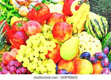 Digital art painting canvas - various organic products exposition of fresh vegetables and fruits (watercolor effect)