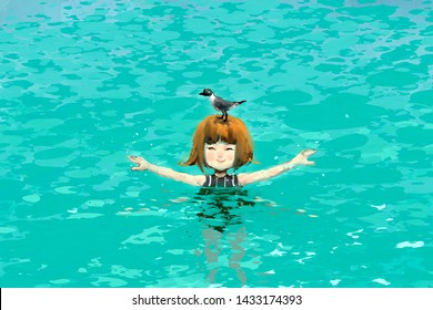 digital art painting of cute girl standing in the sea with birds, storytelling illustration