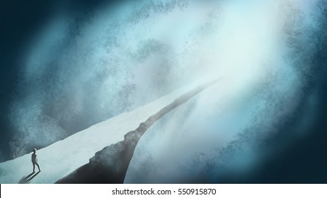 Digital art painting, fantasy illustration, man walking forward to long way cliff, with misty and mystery. Abstract background in mystery, journey, adventure,  dream, imagination, un-expectation.