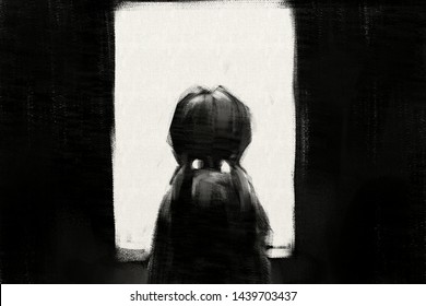 digital art painting of girl looks out the rear view window, acrylic on canvas texture, storytelling illustration