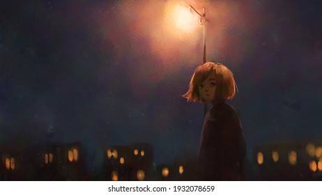 digital art painting of girl walking alone at night, oil on canvas texture.
