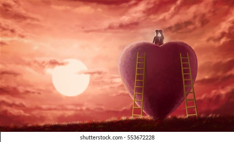 Digital art painting illustration, lover couple sitting on huge heart shape in front of unfocused sunset scene, romantic lover background in Valentine's day concept.