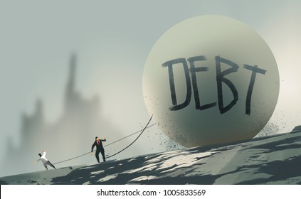 digital art painting illustration style :  businessmen chained with big debt ball on a mountain.