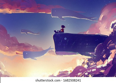 digital art painting of little girl on huge whale flying, acrylic on canvas texture, storytelling illustration