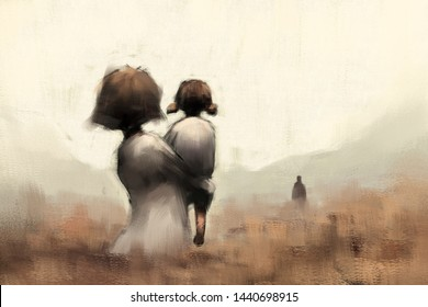 digital art painting of mother with daughter in meadow field, acrylic on canvas texture, storytelling illustration