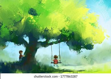 digital art painting set of boy and girl playing under big tree, acrylic on canvas texture, storytelling illustration