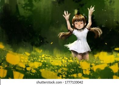 digital art painting set of Little girl on meadow, acrylic on canvas texture, storytelling illustration