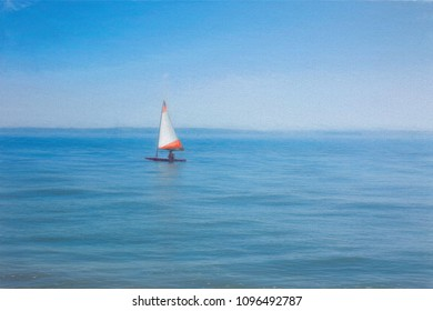 Digital art painting of a yacht sailing in the sea.
