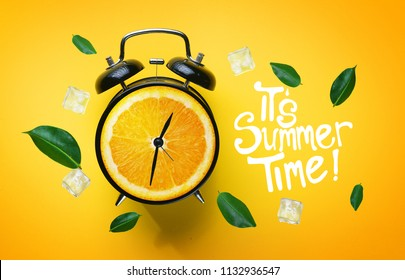 Digital Art Photo Manipulation, Alarm Clock of Orange. Summer Concept. It's Summer Time Typography