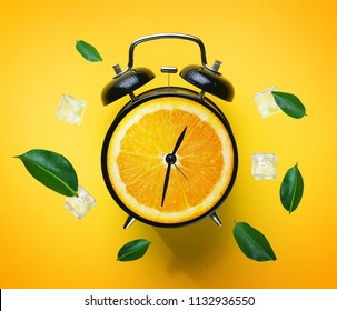 Digital Art Photo Manipulation, Alarm Clock of Orange. Summer Concept