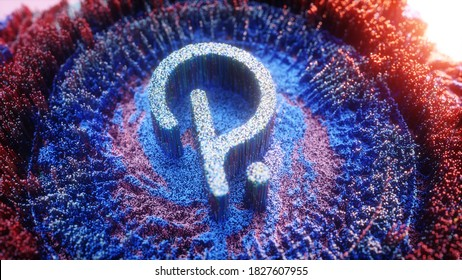 Digital Art of Polkadot Logo Symbol. Cryptocurrency Futuristic 3D Illustration. Crypto background