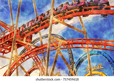 Digital art watercolor: roller coaster, close up, full enjoyment of the thrill of speed