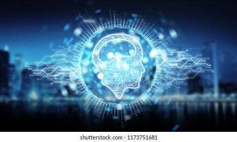 Digital artificial intelligence icon hologram on blue city background 3D rendering