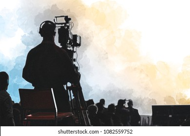 Digital artwork illustration of a Television Press Conference production cameraman silhouette