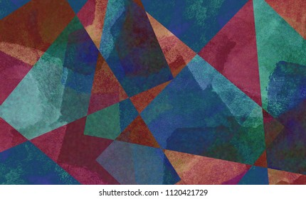 Digital background art made with photo collage technique. Brush strokes used in triangles and trapezoid shapes.