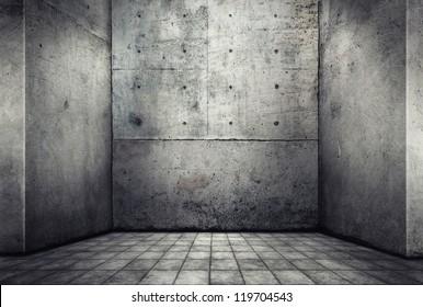 Digital background for studio photographers. Empty concrete room.