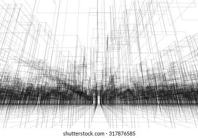 Digital background texture with 3d wire frame structure, perspective view. Black lines over white background