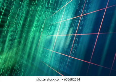 Digital binary code background with Multiple Grid Lines. 3d Illustration