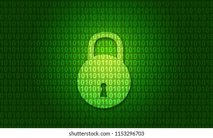 Digital binary code with closed lock. Digital illustration