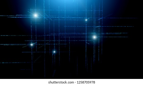 Digital binary code matrix background - 3D rendering of scientific technology data binary code network conveying connectivity, complexity and data flood of modern digital age