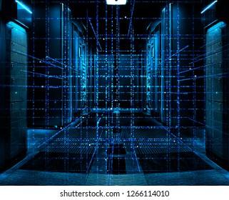 Digital binary code matrix background - 3D rendering of a scientific technology data binary code network on symmetric server room with rows of mainframes in modern data center, futuristic dark design