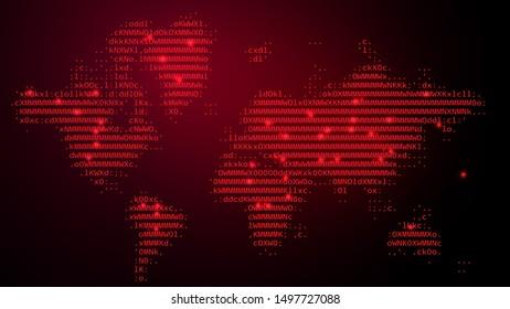 Digital Binary Code on Dark Red BG with World Map