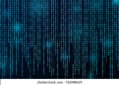 Digital binary data and streaming binary code background. Matrix background with digits 1.0.
