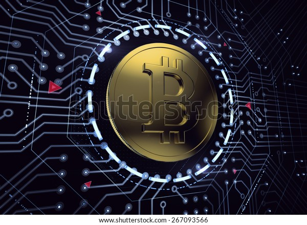Digital Bitcoin. Golden coin with Bitcoin symbol in 'electronic' environment. 3D rendered image.
