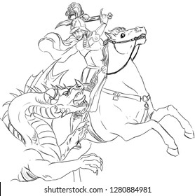 """Digital black and white illustration of a knight on horseback fighting with a dragon, inspired by the Renaissance painting """"St. George and the Dragon"""" by Raphael."""