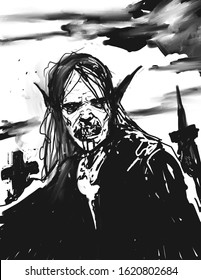 Digital black and white illustration of a vampire emerging from his crypt to hunt at night - digital fantasy drawing