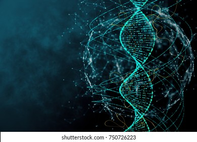 Digital blue DNA texture. Innovation, medicine and technology concept. 3D Rendering